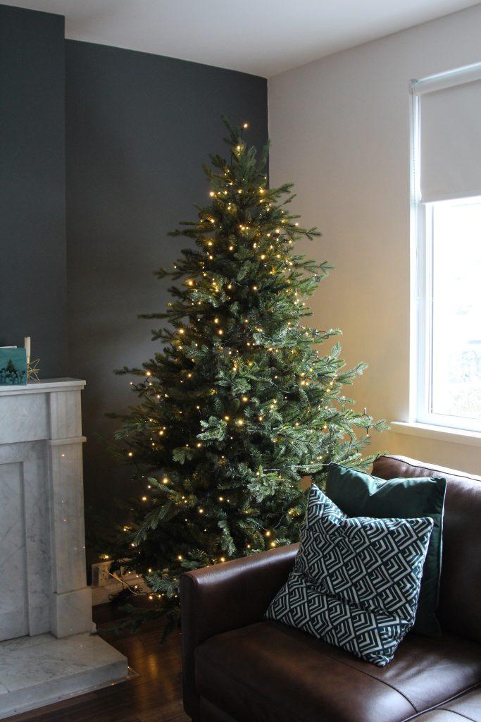 Lights on a bare Christmas tree