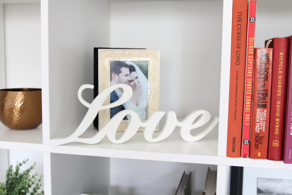 Bookshelves and Love wooden letters in Style At No.5 home. Ideas to feel happier in your home