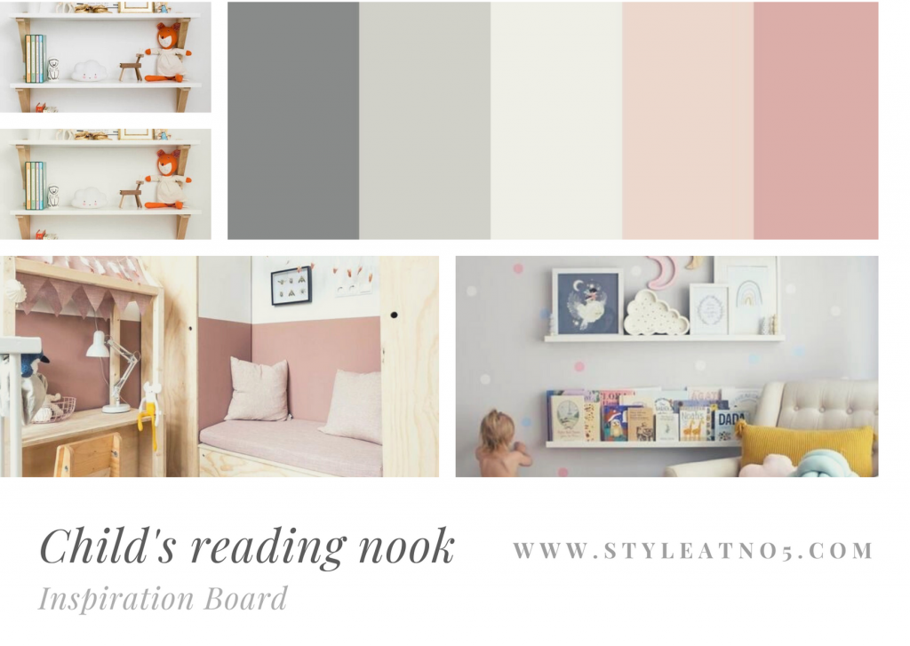 Moodboard for childrens reading nook