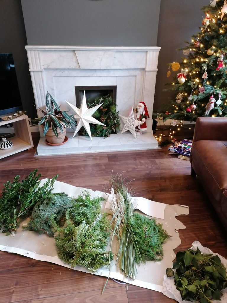 Greenery laid out on the Sitting Room floor for the natural Christmas display from @styleatno5