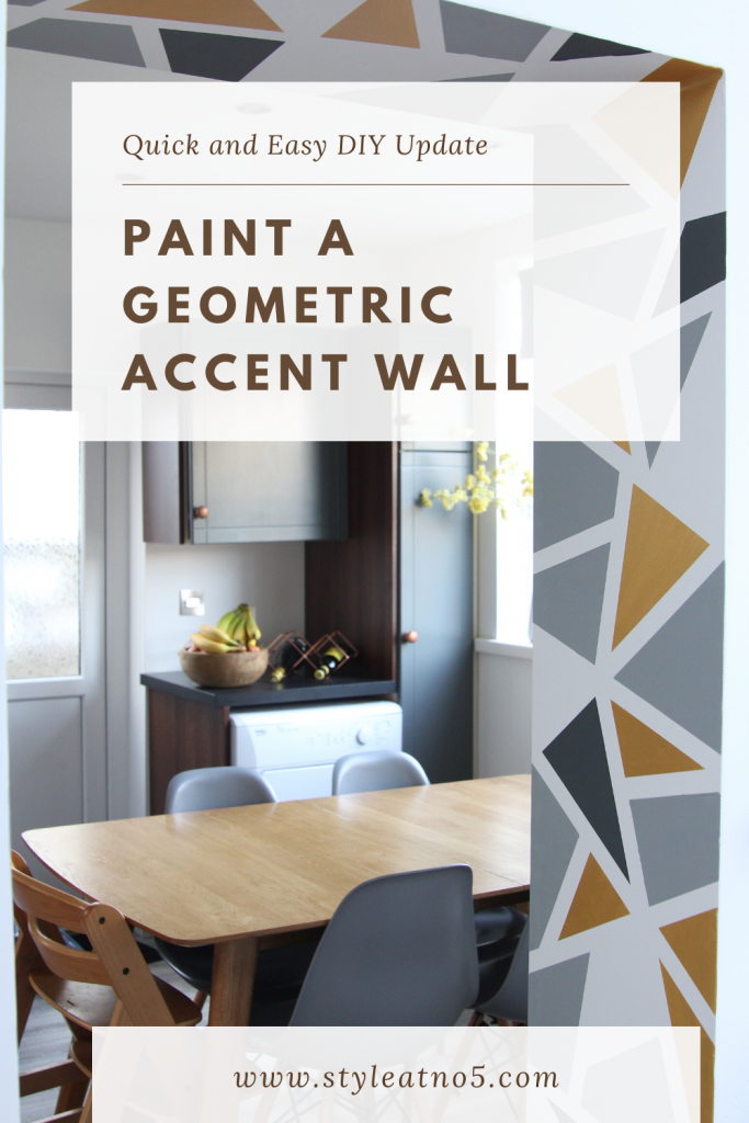 Pinterest pin for painting a geometric accent wall