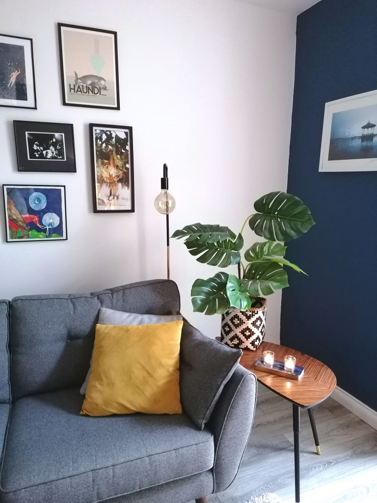 Style At No.5 Blue walls in Living Room, Gallery wall. Simple way to refresh your home
