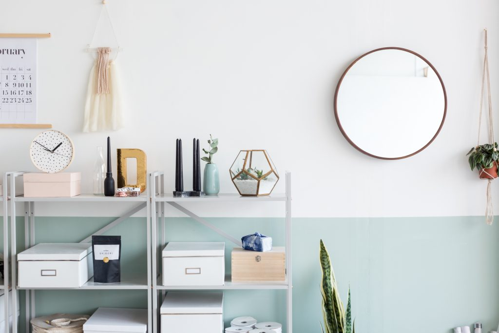 Fall for DIY office makeover with half painted green wall