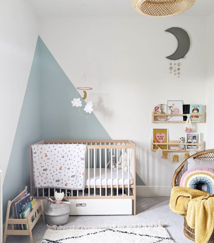 Painted corner in a nursery from House of Waffle