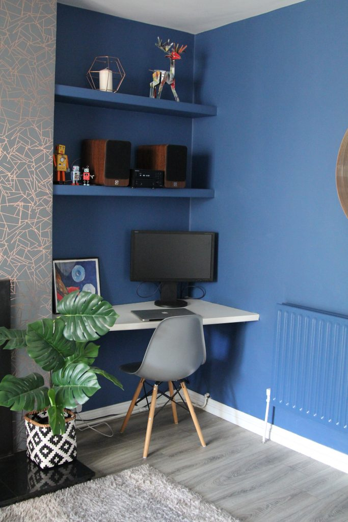 Desk, chair and plant in Blue room. Woad blue paint Little Greene