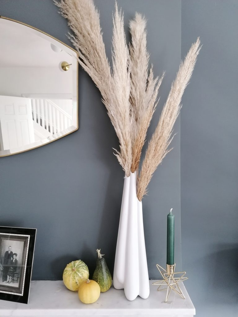 Pampas grass and miniature pumpkins on mantelpiece