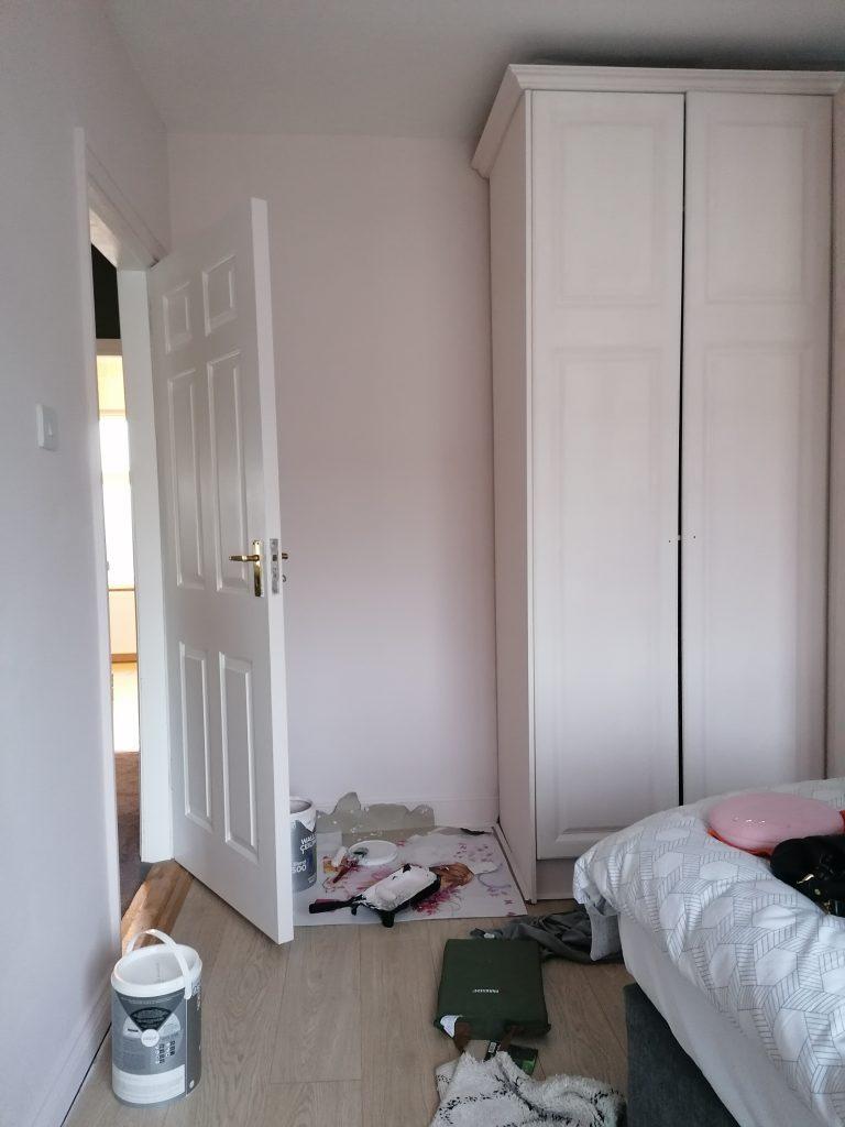 prep area in bedroom before painting wardrobes