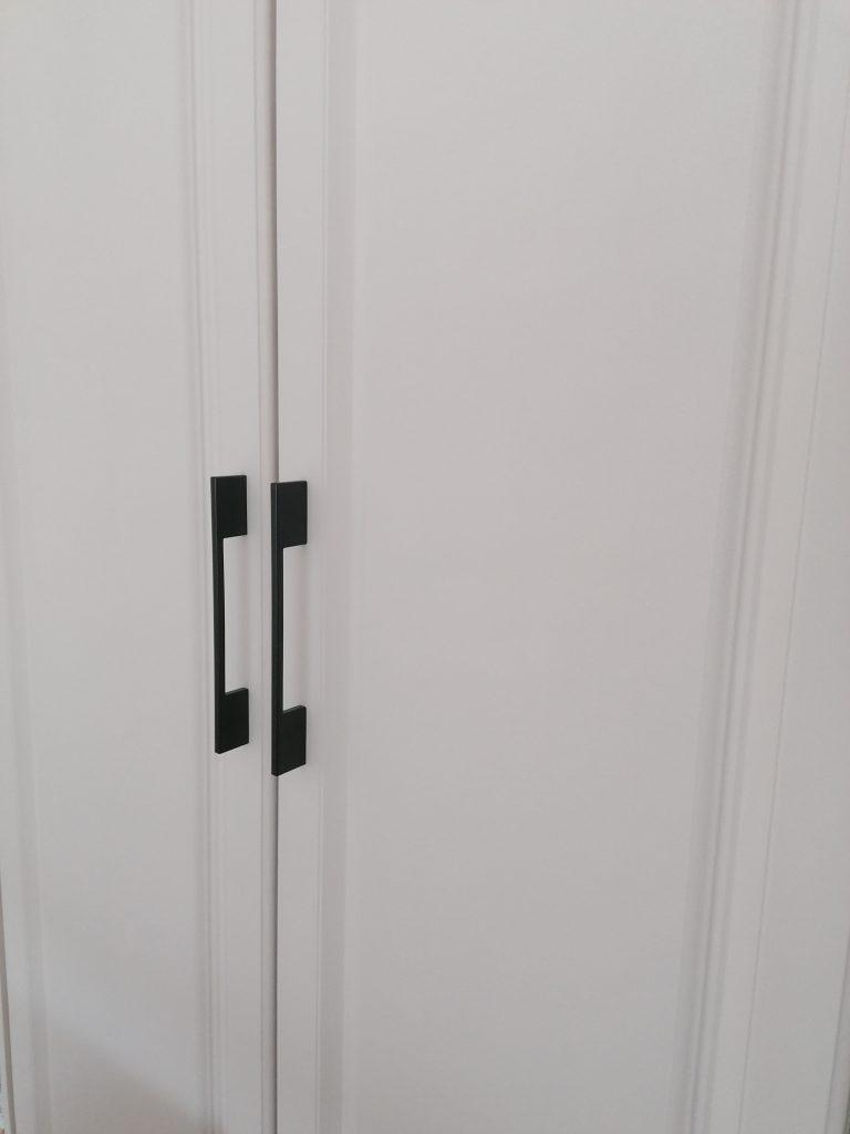 close up of wardrobe handles