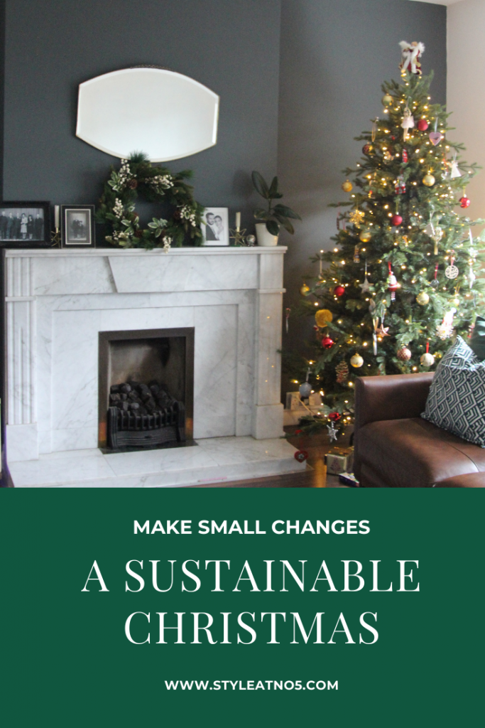 Pinterest image of tree and fireplace made in Canva