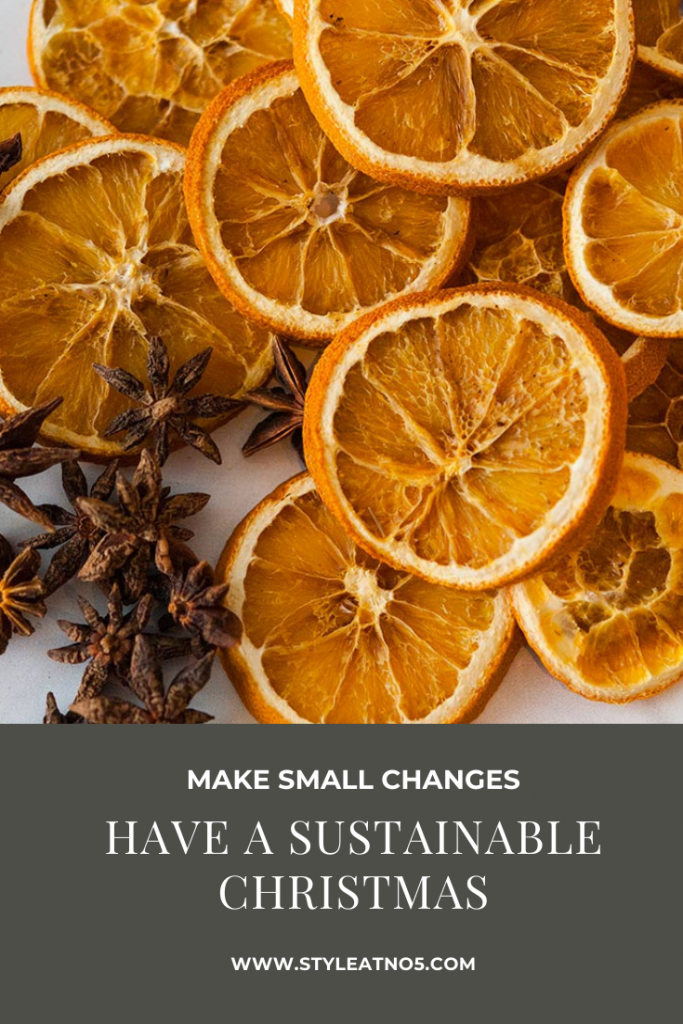 Pinterest image for having a more sustainable Christmas using oranges and star anise