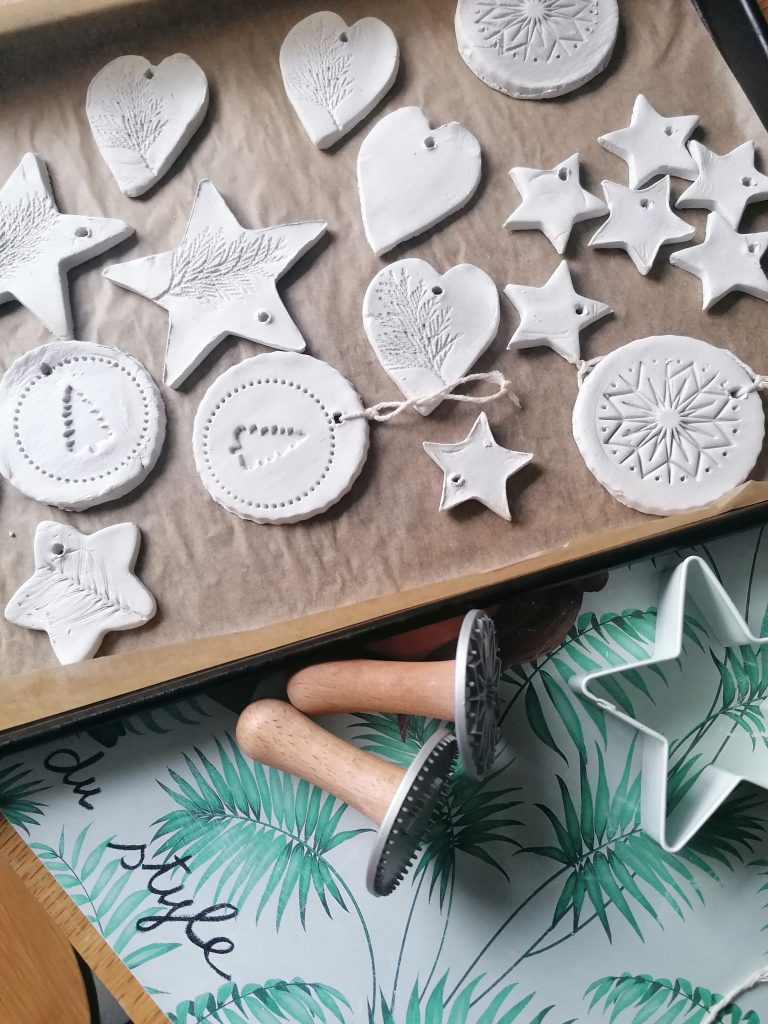 tray full of simple air dry clay decorations and ornaments