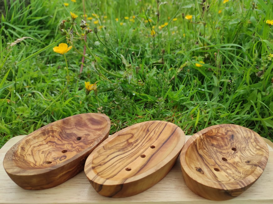 Shop In Ireland olive wood soap holders.