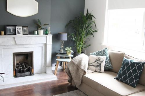 Sitting Room dark floors and grey wall Downpipe Farrow and Ball