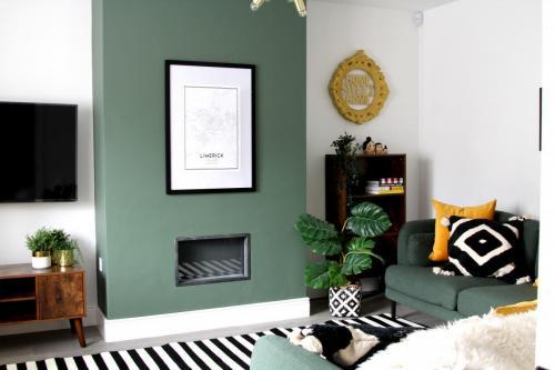 Sitting Room, green paint Puddle Jumper Valspar, made.com green sofas