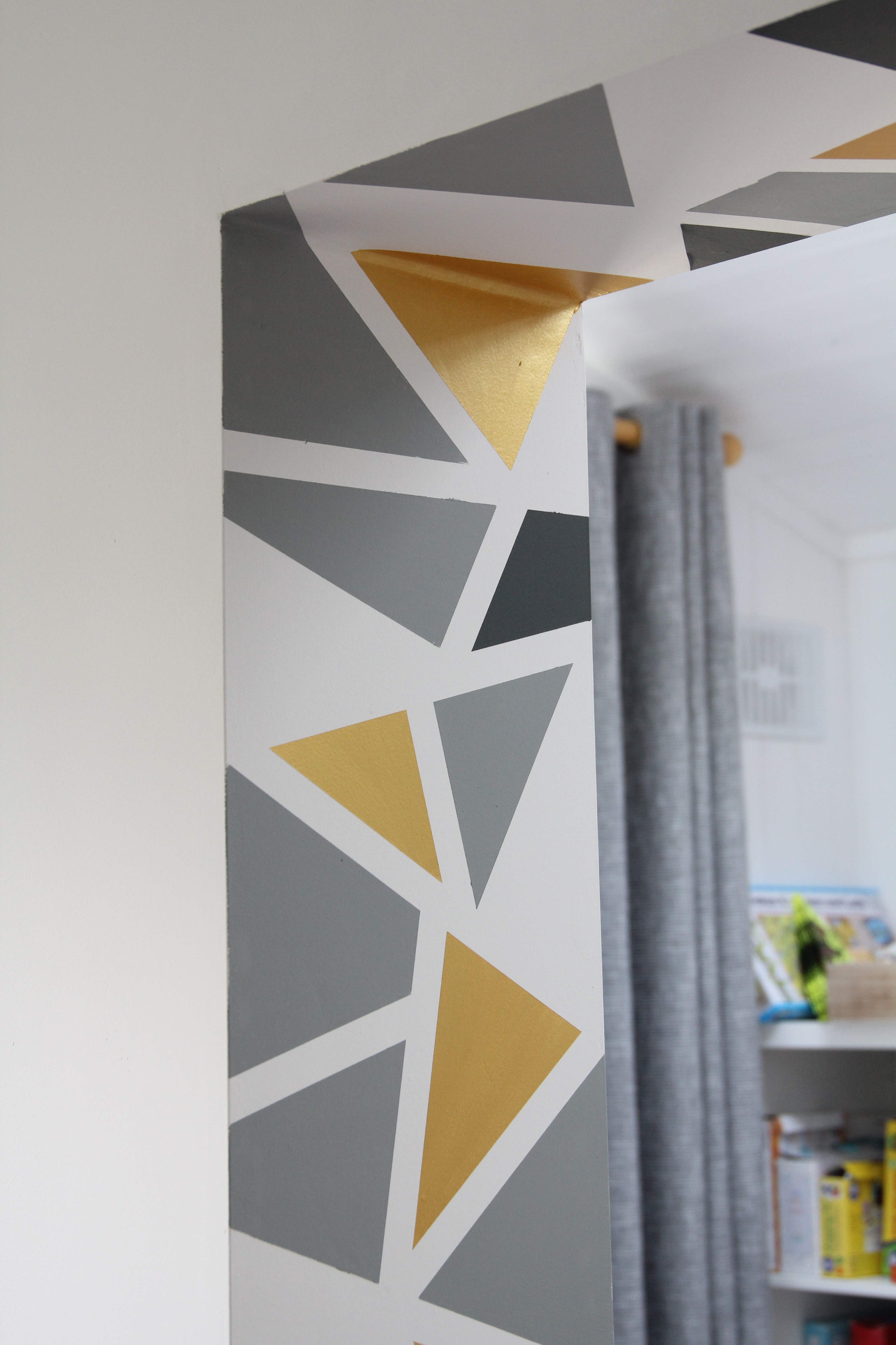 Finished geometric accent wall