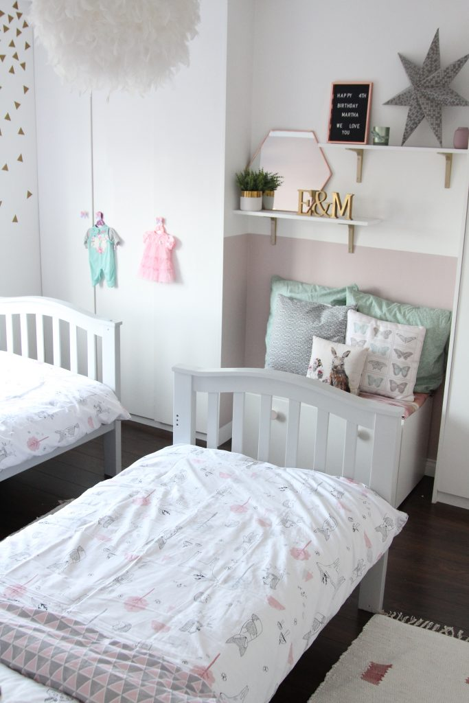 Alternate view of childrens reading nook, girls bedroom