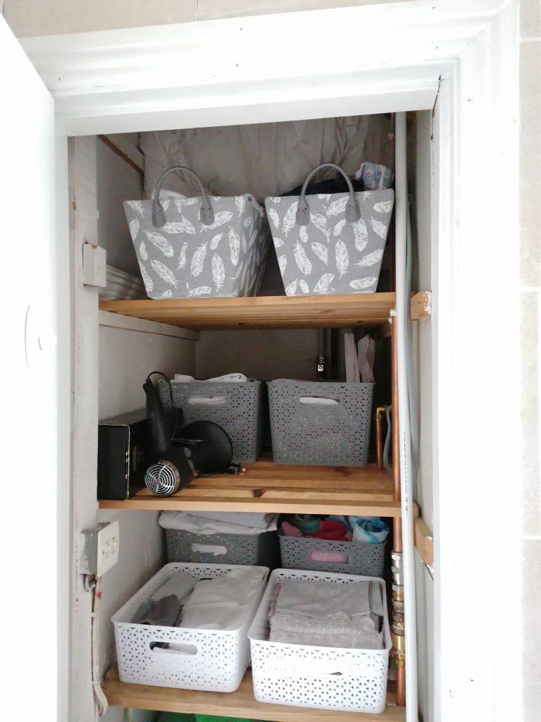 Neat and tidy hotpress shelves. Organise your hotpress
