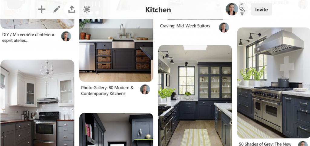 Image of dark grey kitchens gathered together from Pinterest