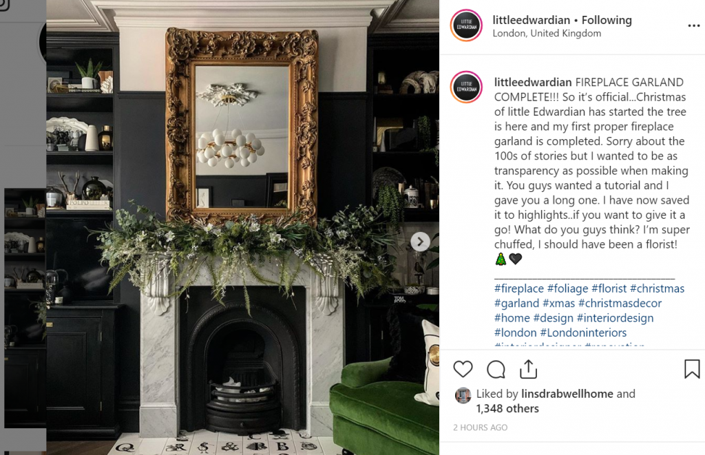 Image of a fireplace garland from littleedwardian on Instagram