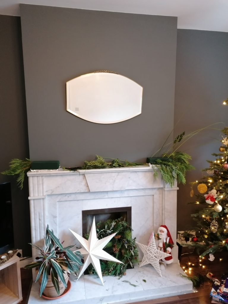 Natural Christmas display as two separate pieces on either end of the mantelpiece from @styleatno5