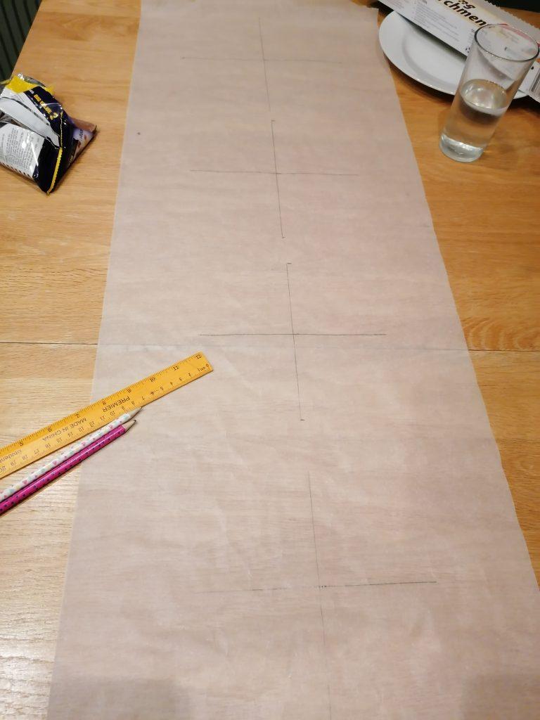 Crosses on parchment paper