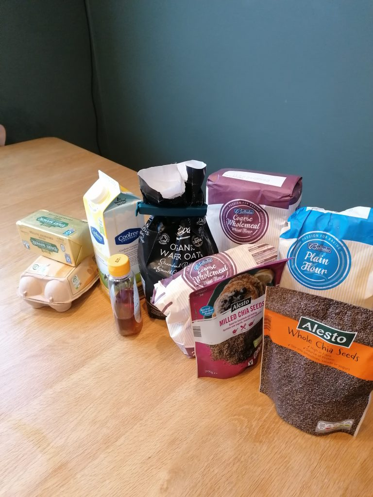 Ingredients for traditional Irish brown bread