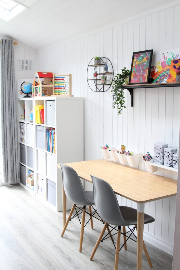 Updated playroom set up for painting and crafting. Adaptable and versatile playroom.