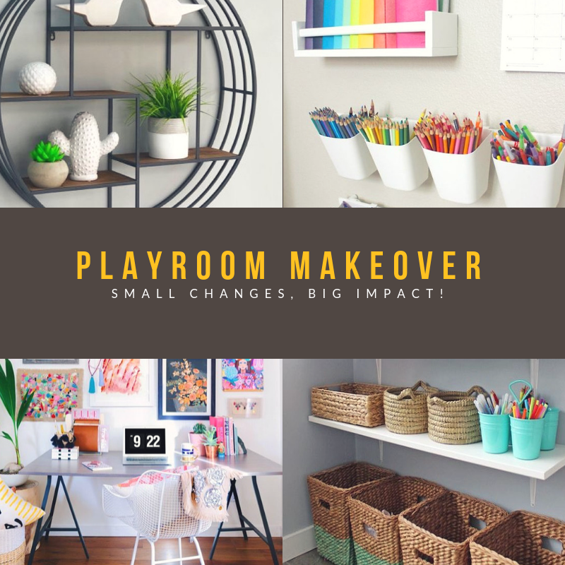 Playroom makeover mood board to design an update to the playroom. Adaptable and versatile playroom