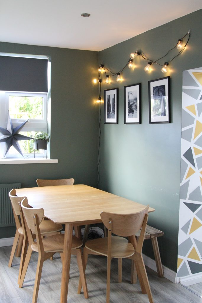 Style At No.5 Greensmoke paint colour from Farrow and Ball in kitchen and atmospheric lighting to refresh your home