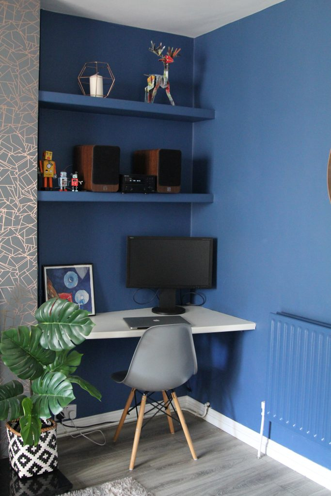 Style At No.5 Woad Blue walls in desk area in Living Room
