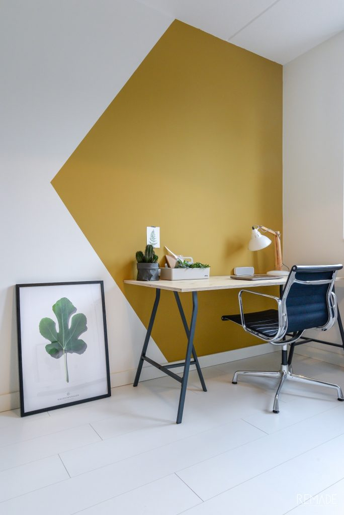 Desk area painted to zone the room, from Remade with Love. Fun wall painting ideas