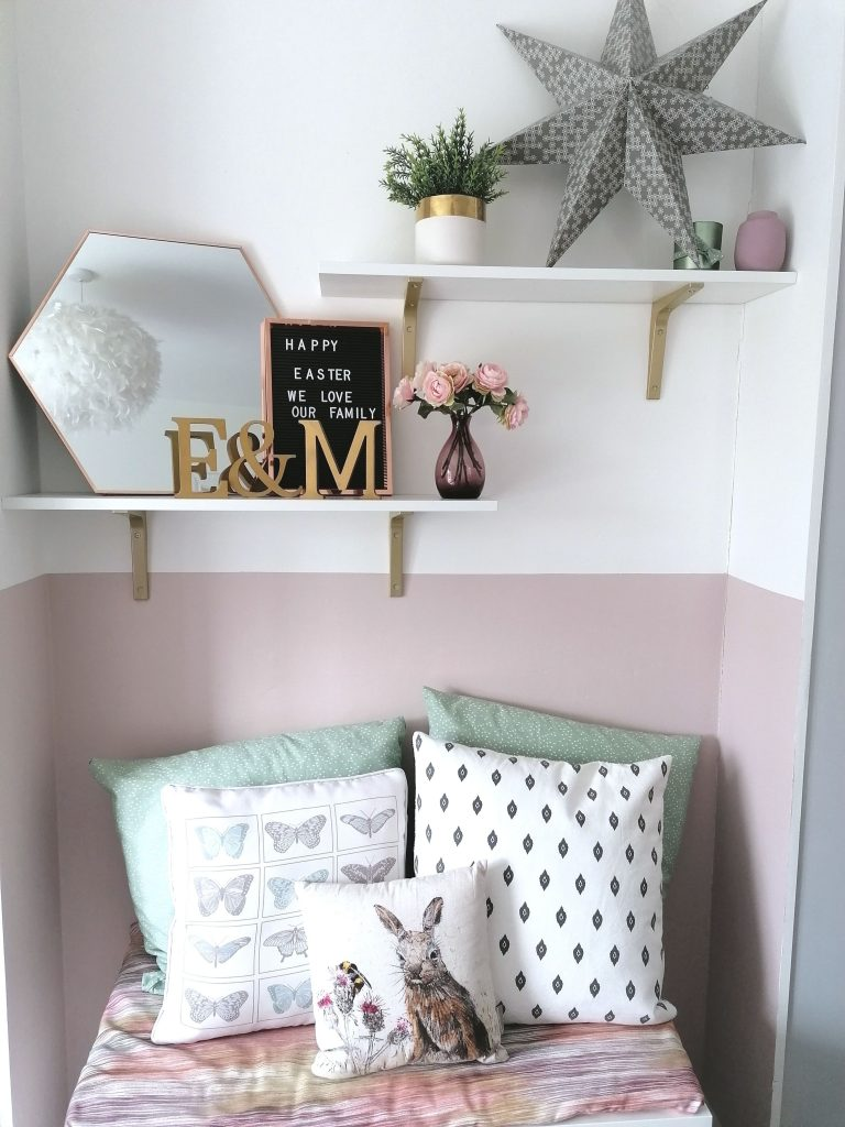 Pink painted half wall in girls bedroom to update our home from Style At No.5