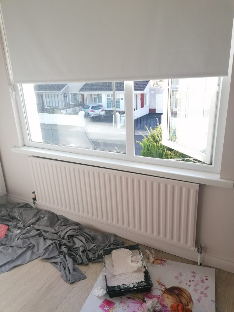 Paint set up in bedroom to paint radiator