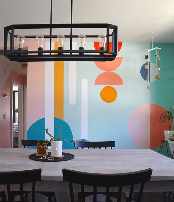 Mural painted by Abby Chiavario in her kitchen to update her home using paint