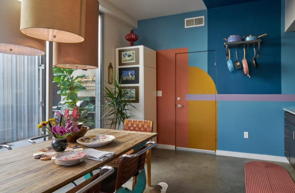 Three Six Nine mural block painted walls in Kitchen