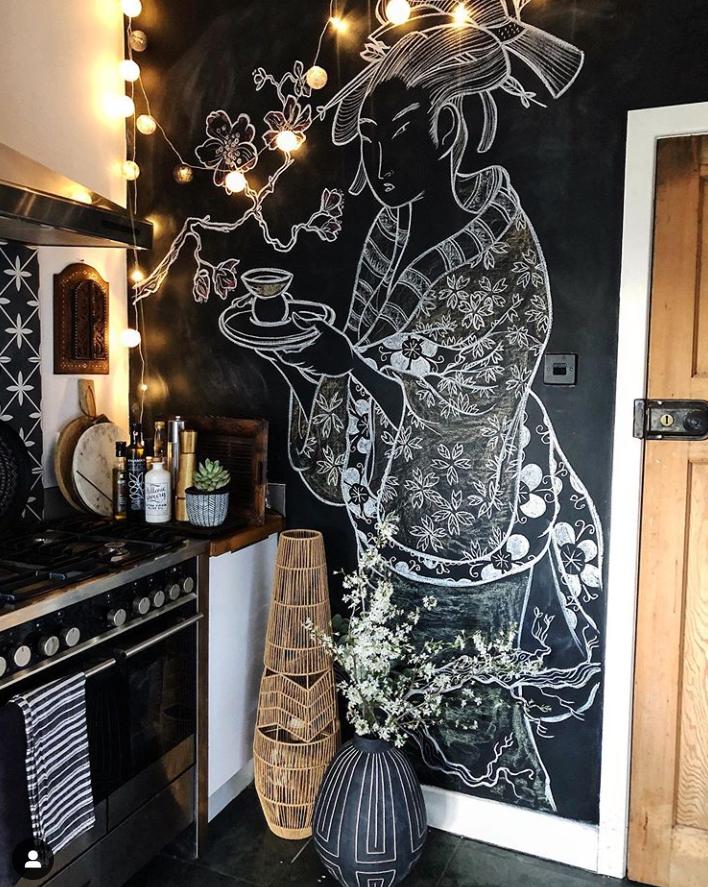 Theresa Gromski painted chalk wall