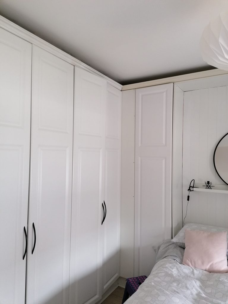white laminate wardrobes before they were painted