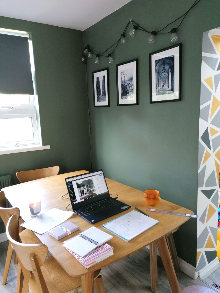 kitchen home office, dining table and chairs, green paint Greensmoke Farrow and Ball