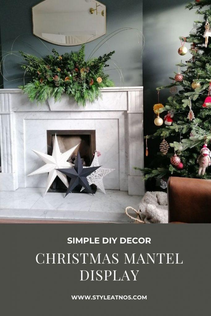 Pinterest pin for Christmas Mantel display