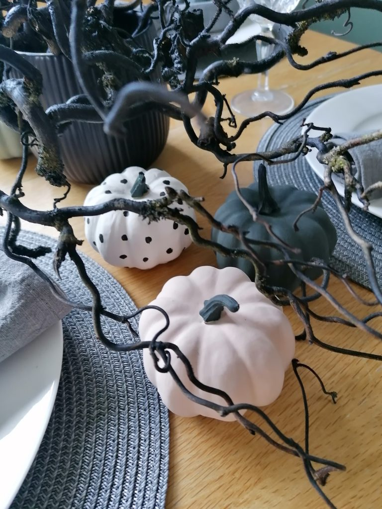 Close up of Halloween table settings