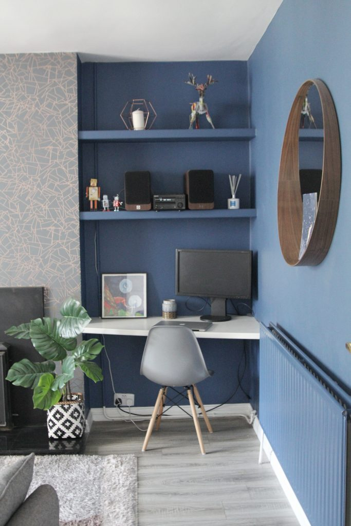 Blue room set up desk and chair