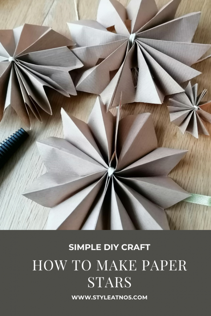 pinterest pin for paper stars made in Canva
