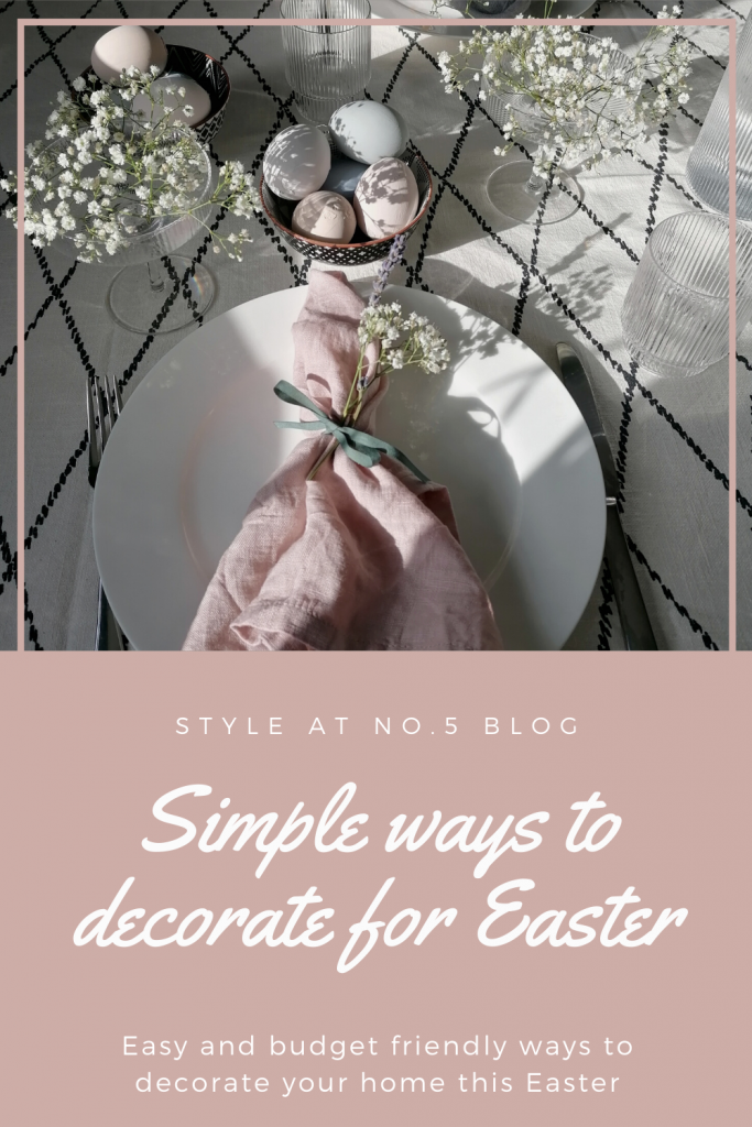 Pinterest graphic for Easter decorations blog post