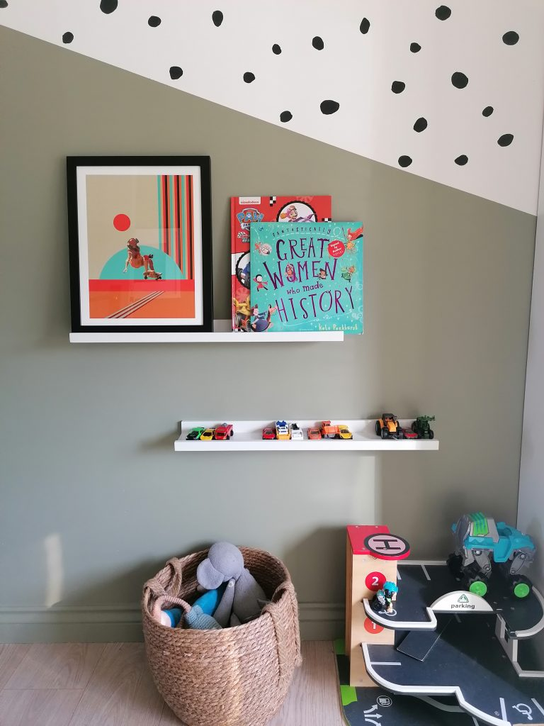 green painted half wall and polka dots on wall a great update to your home for Spring