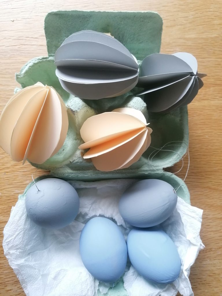 Painted and paper egg decorations Style At No. 5