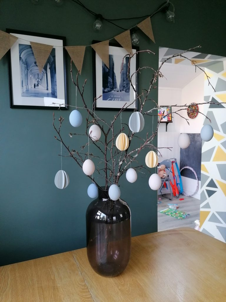 DIY Easter tree with painted eggs and paper eggs
