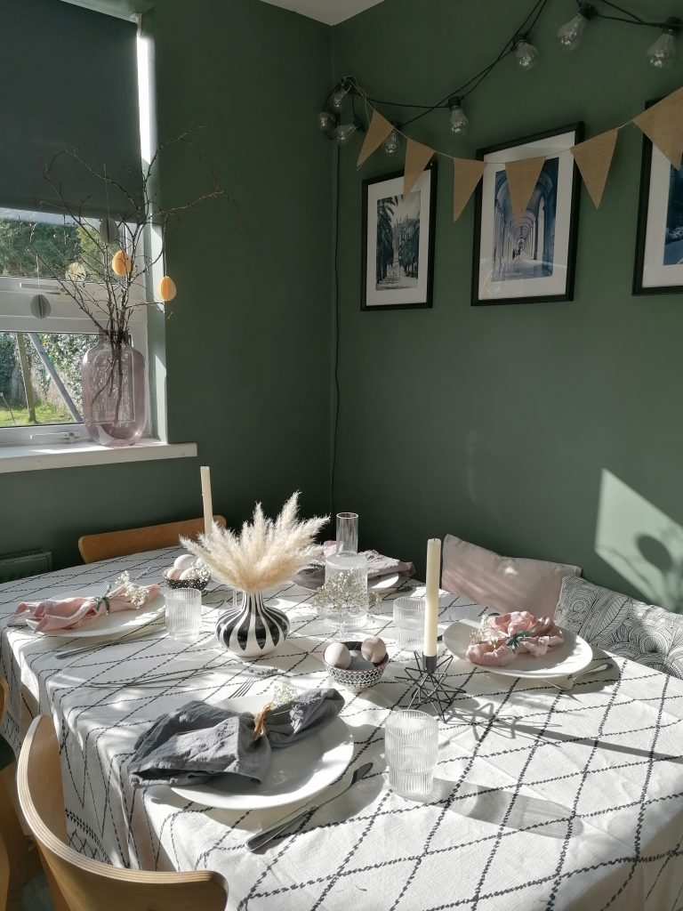 Easter table setting with Easter decorations and