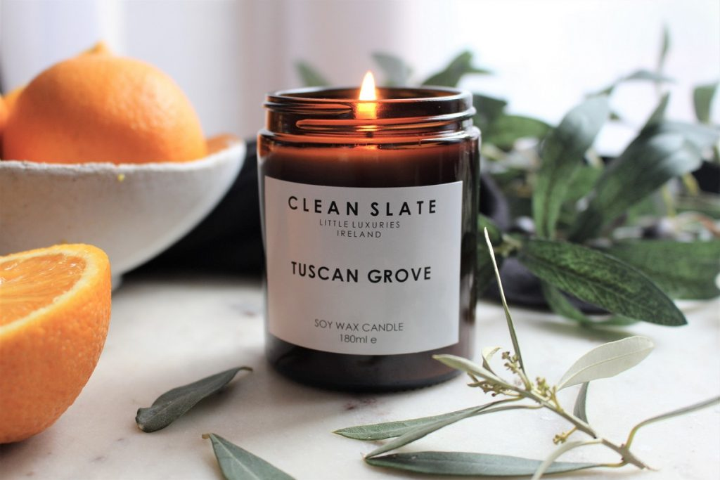 Clean Slate Tuscan Grove candle to update your home for Spring